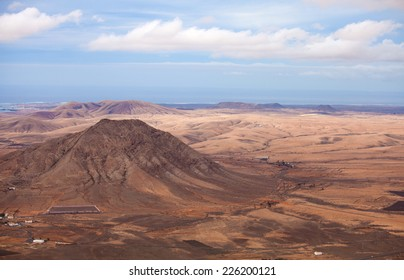Inland Northern Fuerteventura, Canary Islands, view from the slopes of La Muda Mountain towards sacred Mountain Tindaya