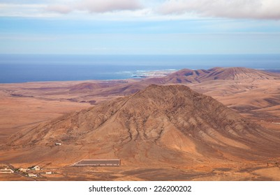 Inland Northern Fuerteventura, Canary Islands, view from the slopes of La Muda Mountain towards scared Mountain Tindaya