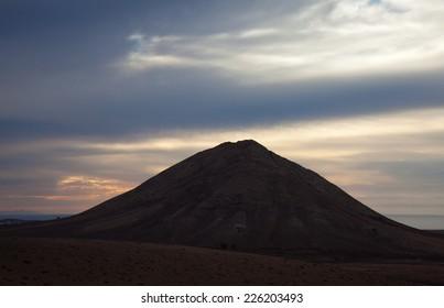 Inland Northern Fuerteventura, Canary Islands, sacred Mountain Tindaya, evening light