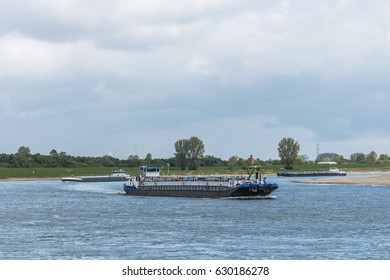 Inland ship tanker  cargo on the rhein river by Dormagen Germany April 2017