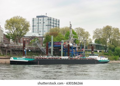 Inland ship tanker loading chemicals  cargo on the rhein river by Bayer Krefeld Eurdingen Germany April 2017 inland ship, binnenvaart , cargo transport