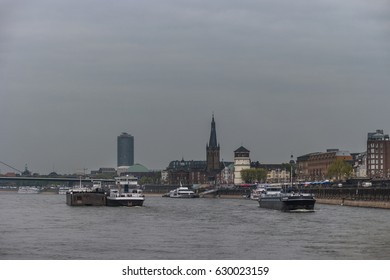 Inland shipping by Dusseldorf rhein river Germany April 2017