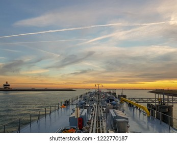 inland shipping cargo transport over the Scheld river Zeeland Netherlands November 2018
