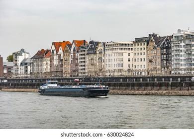 Inland shipping on the rhein river transportation by Dusseldorf Gemrany 2017,inland ship, binnenvaart , cargo transport