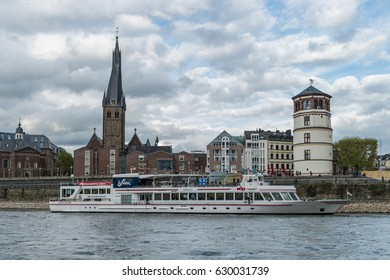 Inland shipping on the rhein river by Dusseldorf Germany April 2017