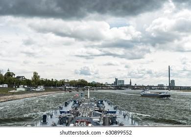Inland shipping sailing the Rhine river by Dusseldorf Germany April 2017,binnenvaart gastanker