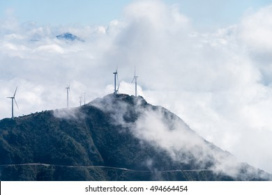 inland wind farm with the sea of clouds at jiugong mountain ,hubei province,China