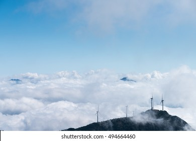 inland wind farm with the sea of clouds on jiugong mountain ,hubei province,China
