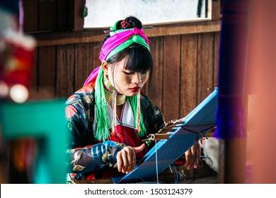 inle lake, myanmar. 22th august, 2019: portrait of giraffe woman ethnic in inle lake
