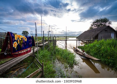 inle lake, myanmar. 23th august, 2019: floating village at inle lake, myanmar