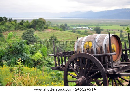 INLE LAKE, MYANMAR - CIRCA NOVEMBER 2014: A wooden wagon with wine barrel on the background of the winery Red Mountain Estate near Nyaungshwe, Myanmar (Burma).