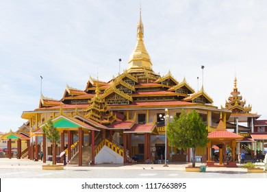 INLE LAKE, MYANMAR - DECEMBER 01, 2014: Phaung Daw Oo Pagoda, in Ywama floating village, Inle lake, Myanmar