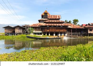 INLE LAKE, MYANMAR - DECEMBER 01, 2014: Nga Phe Chaung monastery, the jumping cats monastery, on Inle Lake, Myanmar