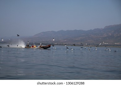 INLE LAKE, MYANMAR - DECEMBER 23. 2015: Speed boat carrying Burmese people accompanied by a flock of birds