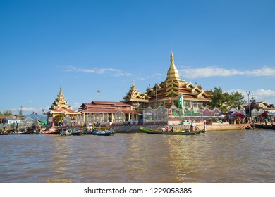 INLE LAKE, MYANMAR - DECEMBER 26, 2016: View of the Hpaung Daw U Pagoda Buddhist temple on Inle Lake. Burma