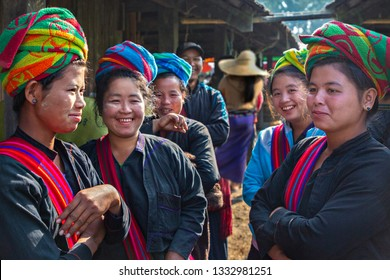 INLE LAKE, MYANMAR - FEBRUARY 18, 2019: Tribal Pa O woman in the five day market, in Inle Lake, Myanmar