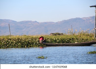 Inle Lake, Myanmar - Jan 26 2018: Fisherman working on a sampan on the Inle Lake