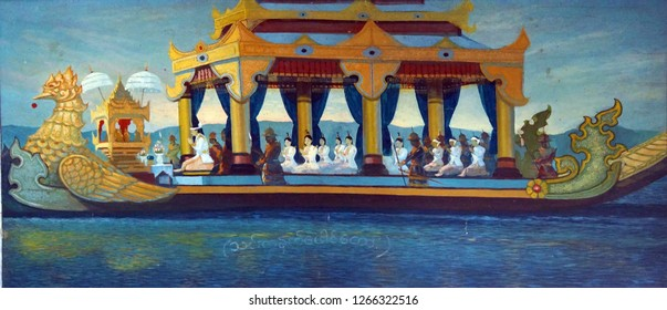 INLE LAKE, MYANMAR - MAR 1, 2015 - Painting of festival barge carrying Buddha statues,  Hpaung Daw U Pagoda, Inle Lake,  Myanmar (Burma)