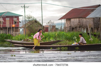 INLE LAKE, MYANMAR - October 10, 2017 :  Local people life on the floating village at Inle Lake,the most popular tourist destination at Myanmar