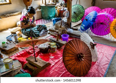 Inle Lake region, Myanmar (Burma)- March 13,2018, traditional colorful paper umbrella shop, decorative handicraft