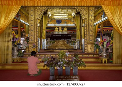 Inle. Myanmar. 02.05.13. Phaung Dow Oo Buddhist Temple on Inle Lake, Shan State, Myanmar (Burma). The five Buddha images are unrecognizable as they have been covered in so many layers of gold leaf