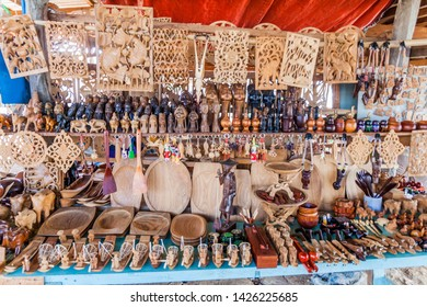 INLE, MYANMAR - NOVEMBER 28, 2016: Woodcraft souvenir stall at Inle lake, Myanmar