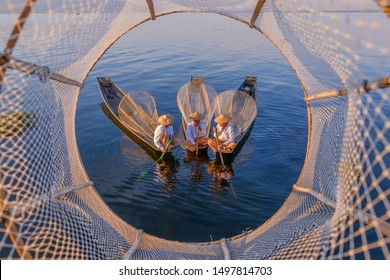 INLE/MYANMAR(BURMA) - 07th, September, 2019 : Fishermen in Inle Lake, Located at Shan state, Myanmar