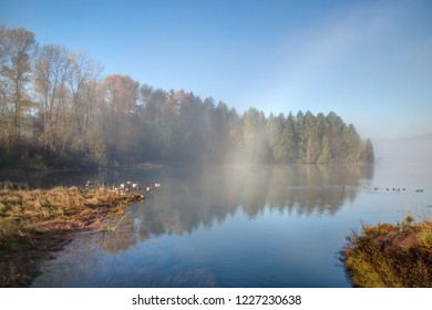 Inlet Park in a foggy morning, Port Moody, British Columbia, Canada