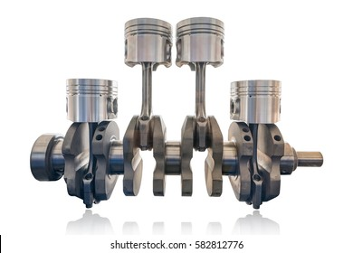Inline four cylinder of diesel and gasoline engine with crank shaft isolate on white background with clipping path, Reciprocating type engine.