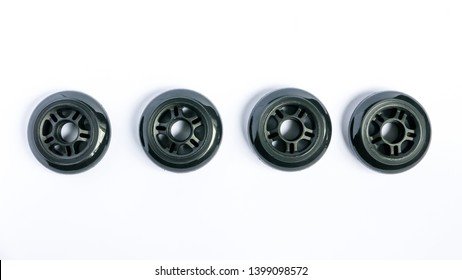 Inline skate wheels, a set of rollerblade wheels isolated on white background