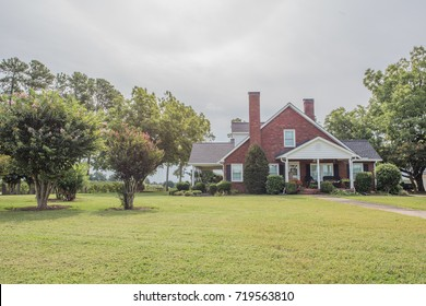 Inman, South Carolina, Sept. 10, 2017: Typical architecture for homes in rural, upstate South Carolina, with brick exteriors and large lots, often with a garden area behind.