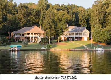 Inman, South Carolina, Sept. 10, 2017: Large, luxurious, beautiful homes along Lake Bowen, the largest lake in Spartanburg County and a popular place for fishing, boating and swimming in Upstate S.C.
