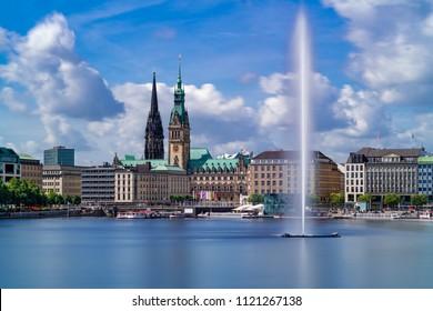 The Inner Alster lake (German: Binnenalster) in Hamburg, Germany, on a sunny summer day.