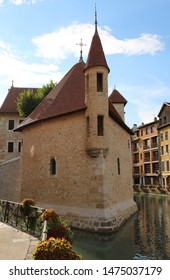 Inner city of Annecy in france and the old house with river called Thiou