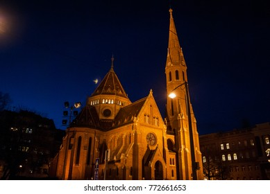 The Inner City Calvinist Church of Budapest, night photo