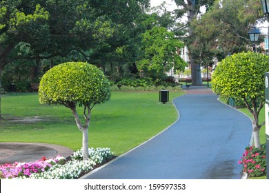 Inner city park with winding pathway and gardens