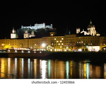 The inner city of Salzburg is separated by the Salzach river. The old sovereignity (Old Town) is located on the left riverbank.