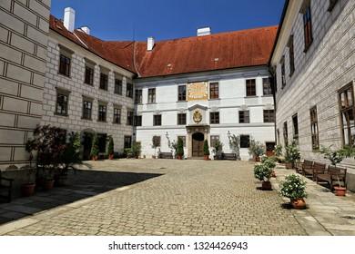 Inner court of Trebon Castle in the summer time