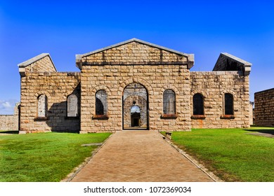 Inner court of Trial Bay gaol with facade of main block - modern day museum of australian history in Arakoon national park, NSW.