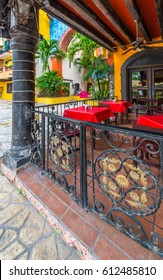 Inner court, yard, patio of caribbean, tropical mexican hotel.