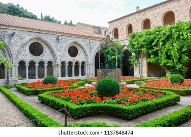 Inner courtyard of Fontfroide Abbey in Languedoc-Roussillon, near Carcassonne in southern France