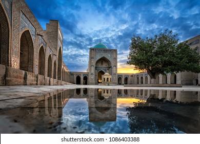 Inner courtyard of the Kalyan Mosque, part of the Po-i-Kalyan Complex in Bukhara, Uzbekistan