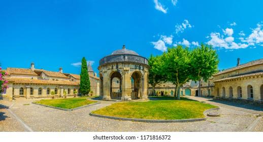 Inner courtyard of an old carthusian monastery Chartreuse de Villeneuve lez Avignon, France