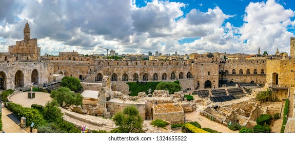 Inner courtyard of the tower of David in Jerusalem, Israel