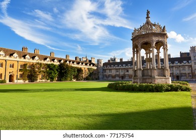 The inner courtyard of Trinity College in Cambridge, UK.
