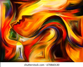 Inner Dialog series. Abstract design made of human profiles and vivid paint shapes on the subject of emotions, relationships, human drama, spirituality and design