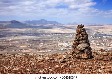 Inner Fuerteventura, Canary Islands, view from Calderon Hondo towards Lajares; mount Tindaya in the background