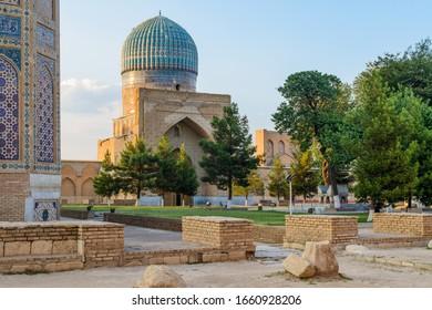 Inner gargen of Bibi-Khanym Mosque, Samarkand, Uzbekistan