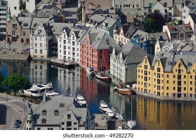 The inner harbor of the Norwegian port town of Aalesund