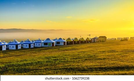 Inner Mongolia Hulunbeier Mozhegle Mongolian tribe yurt